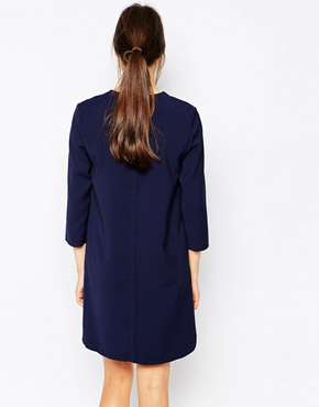 photo Shift Dress with Zip Front by See U Soon, color Navy - Image 2