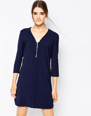 photo Shift Dress with Zip Front by See U Soon, color Navy - Image 1
