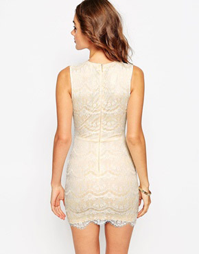 photo Myra Wrap Front Mini Dress in Scallop Lace by Sistaglam, color Nude White - Image 2