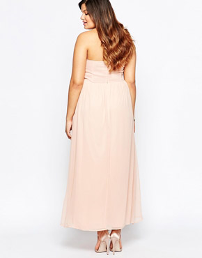 photo Maxi Dress with Pleated Bandeau Top by So London Plus, color Nude - Image 2