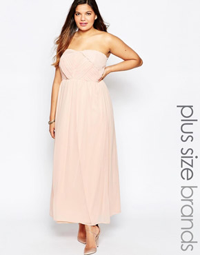 photo Maxi Dress with Pleated Bandeau Top by So London Plus, color Nude - Image 1