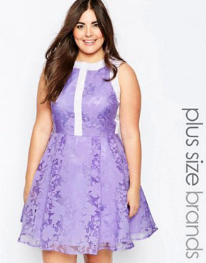 photo Prom Dress In Floral Organza by So London Plus, color Lilac - Image 1