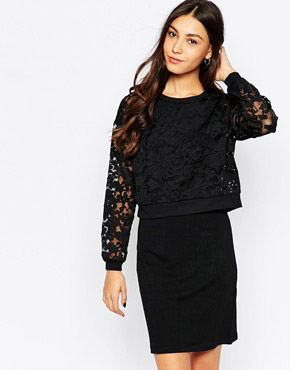 photo Long Sleeve Lace Pencil Dress by Soaked in Luxury, color Black - Image 1