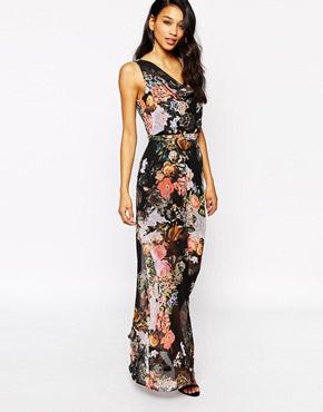 photo Printed Maxi Dress by Style London, color Black Floral - Image 1