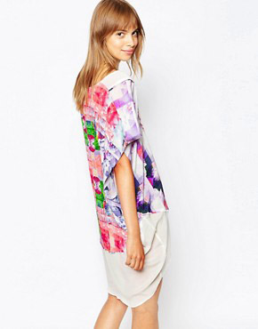 photo Floral Rise Silk Kaftan by Suboo, color Print - Image 2
