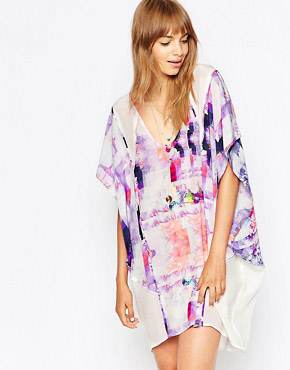 photo Floral Rise Silk Kaftan by Suboo, color Print - Image 1