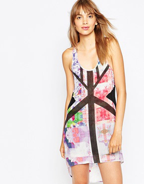 photo Floral Rise Silk Singlet Dress by Suboo, color Print - Image 1