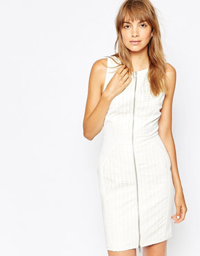photo Lasercut Zip Front Dress by Suboo, color White - Image 1