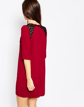 photo Emmie Dress with Lace Detail by Sugarhill Boutique, color Dark Red - Image 2