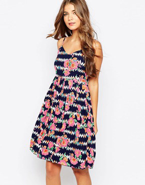 photo Floral Zig Zag Summer Dress by Sugarhill Boutique, color Navy Multi - Image 1