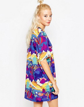 photo Trip T-shirt dress In Abstract Print by Textile Federation, color Multi - Image 2