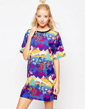 photo Trip T-shirt dress In Abstract Print by Textile Federation, color Multi - Image 1