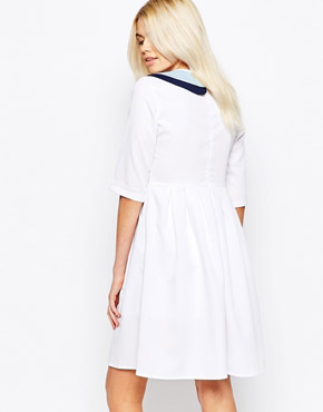 photo 3/4 Sleeve Skater Dress with Contrast Collar by The WhitePepper, color White - Image 2