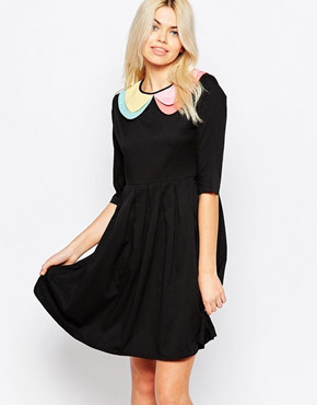 photo 3/4 Sleeve Skater Dress with Contrast Collar by The WhitePepper, color Black - Image 1