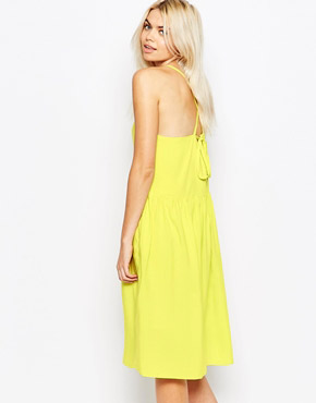 photo Cross Back Spaghetti Strap Dress by The WhitePepper, color Yello - Image 2
