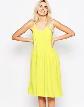 photo Cross Back Spaghetti Strap Dress by The WhitePepper, color Yello - Image 1