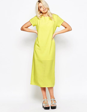 photo Long T-shirt Dress In Neon Yellow by The WhitePepper, color Yello - Image 1