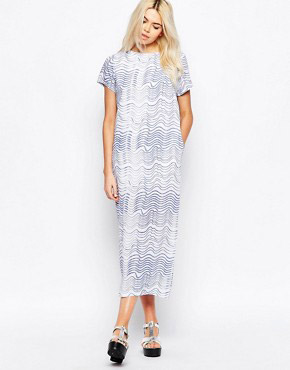 photo Maxi T-Shirt Dress In Wave Print by The WhitePepper, color Blue Wave - Image 1