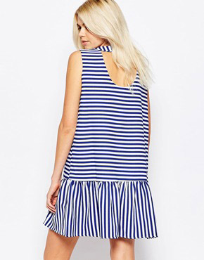 photo Open Back Peplum Stripe Dress by The WhitePepper, color Blue Stripe - Image 2