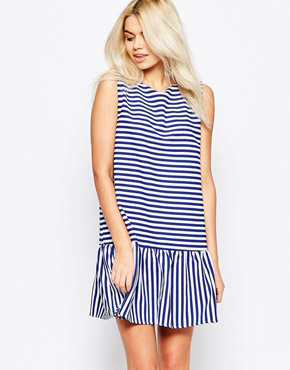 photo Open Back Peplum Stripe Dress by The WhitePepper, color Blue Stripe - Image 1