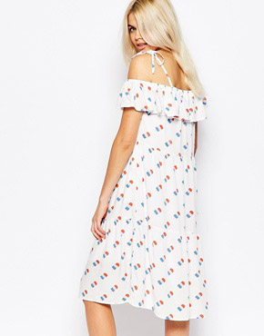photo Peplum Off The Shoulder Dress In Ice Cream Print by The WhitePepper, color White Print - Image 2