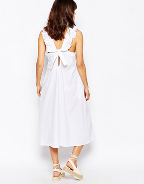 photo Ribbon Tie Back Midi Dress by The WhitePepper, color White - Image 2