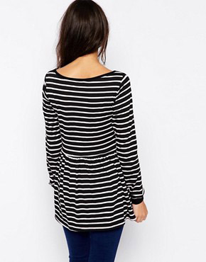 photo Striped Dress with Peplum Hem by Tired Of Tokyo, color Black White - Image 2