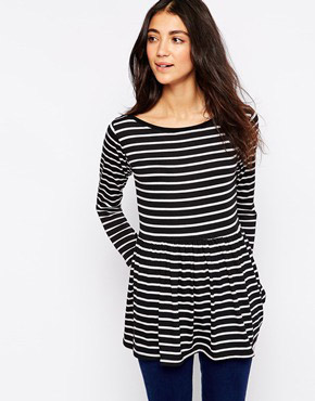 photo Striped Dress with Peplum Hem by Tired Of Tokyo, color Black White - Image 1