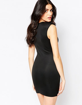 photo Bodycon Dress with Deep Plunge by Twin Sister, color Black - Image 2