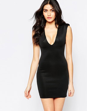photo Bodycon Dress with Deep Plunge by Twin Sister, color Black - Image 1
