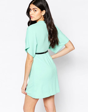 photo Kimono Sleeve Dress with Bar Belt by Twin Sister, color Mint - Image 2