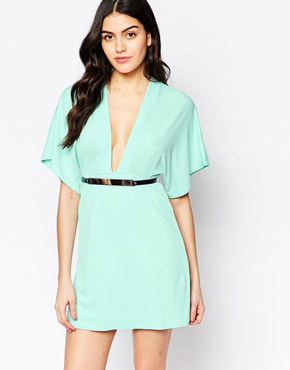 photo Kimono Sleeve Dress with Bar Belt by Twin Sister, color Mint - Image 1