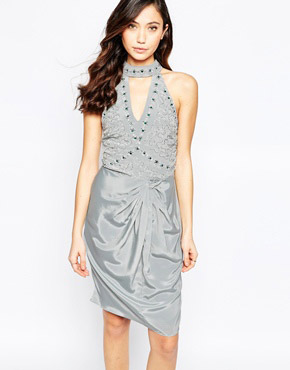 photo Virgo's Lounge Neva Halter Dress with Keyhole Detail and Ruched Skirt, color Grey - Image 1