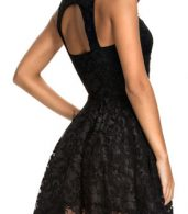 photo All Black Lace Party Skater Dress by OASAP, color Black - Image 2