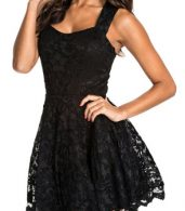 photo All Black Lace Party Skater Dress by OASAP, color Black - Image 1