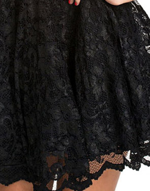 photo All Black Lace Party Skater Dress by OASAP, color Black - Image 4