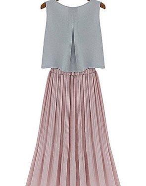 photo All-Matching Drop-Waist Midi Dress by OASAP, color Grey Blush - Image 2