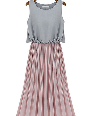 photo All-Matching Drop-Waist Midi Dress by OASAP, color Grey Blush - Image 1