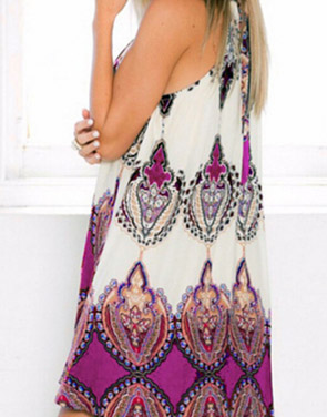 photo Appealing Printed Sleeveless Halter Mini Dress by OASAP, color Multi - Image 2