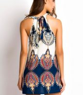 photo Appealing Printed Sleeveless Halter Mini Dress by OASAP, color Multi - Image 3