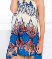 photo Appealing Printed Sleeveless Halter Mini Dress by OASAP, color Multi - Image 4