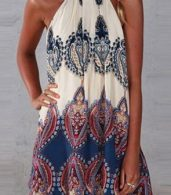 photo Appealing Printed Sleeveless Halter Mini Dress by OASAP, color Multi - Image 7