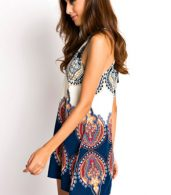 photo Appealing Printed Sleeveless Halter Mini Dress by OASAP, color Multi - Image 8
