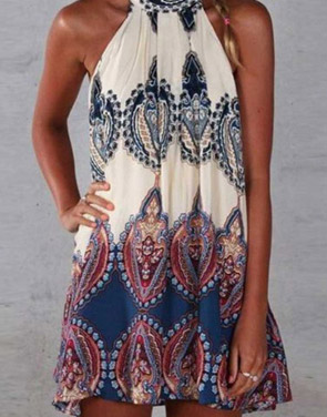 photo Appealing Printed Sleeveless Halter Mini Dress by OASAP, color Multi - Image 9
