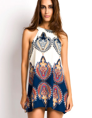 photo Appealing Printed Sleeveless Halter Mini Dress by OASAP, color Multi - Image 1