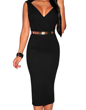 photo Black Faux Wrap Belted Fashion Midi Dress by OASAP, color Black - Image 1