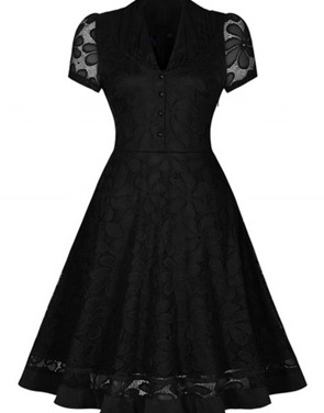 photo Black Lace V-Neck Short Sleeve Swing Dress by OASAP, color Black - Image 2