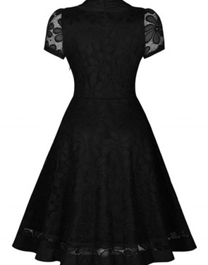 photo Black Lace V-Neck Short Sleeve Swing Dress by OASAP, color Black - Image 3
