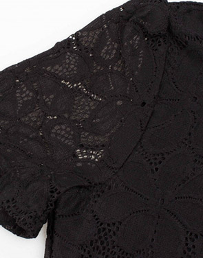 photo Black Lace V-Neck Short Sleeve Swing Dress by OASAP, color Black - Image 5