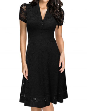 photo Black Lace V-Neck Short Sleeve Swing Dress by OASAP, color Black - Image 1